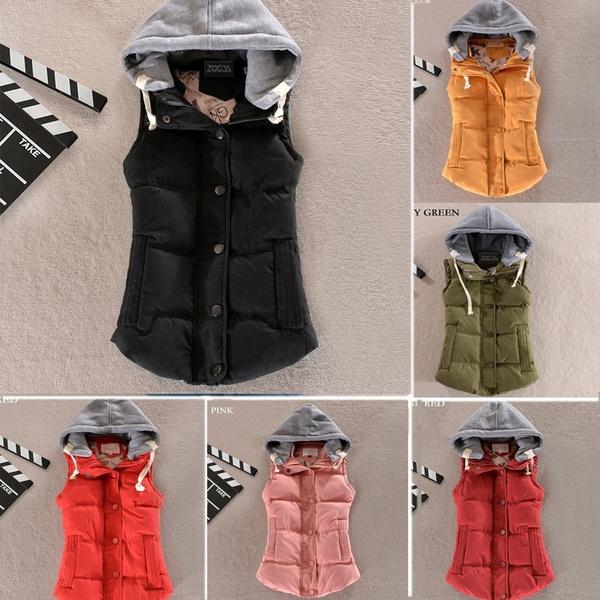 Women Vest, Vest, hooded, Cotton
