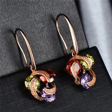 yellow gold, Dangle Earring, Gemstone Earrings, gold