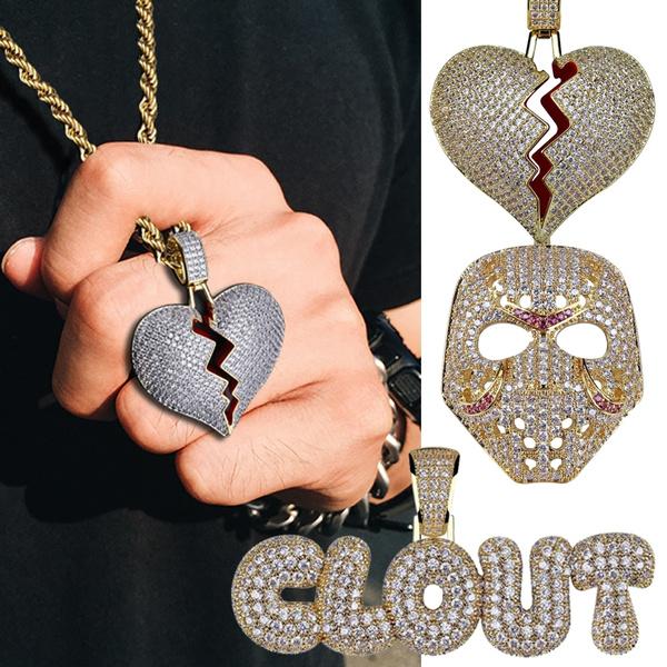 Heart, microzirconnecklace, hip hop jewelry, masknecklace