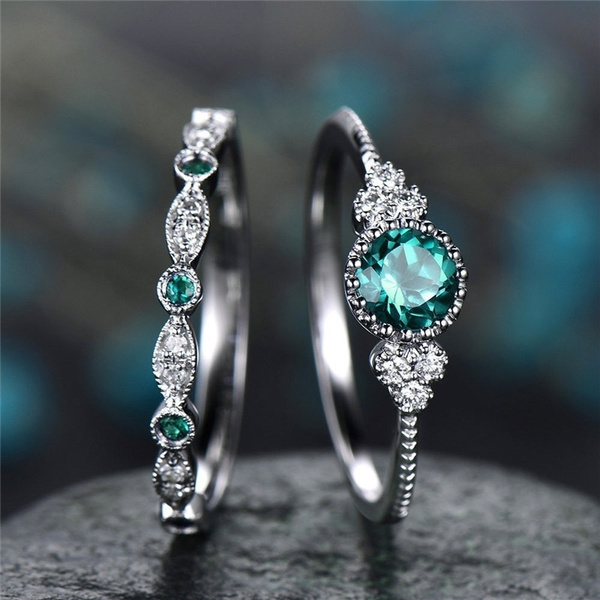 Blues, party, Engagement Wedding Ring Set, wedding ring