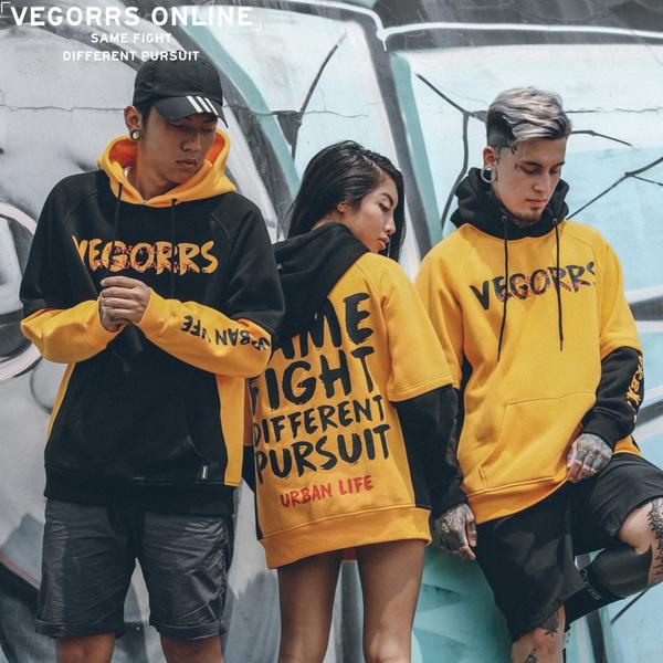 hooded, pullover hoodie, letter print, Men