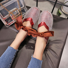Lace Up, Flats, Bling, Lace