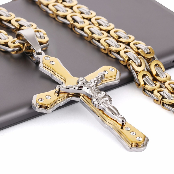 Steel, easterdaygift, gold, Cross Pendant
