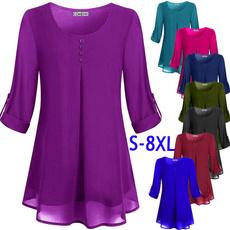 Plus size top, long sleeved shirt, Women Blouse, Shirt