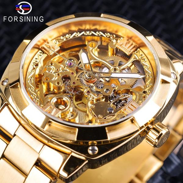 automaticmechanicalwatch, Fashion, Skeleton, gold