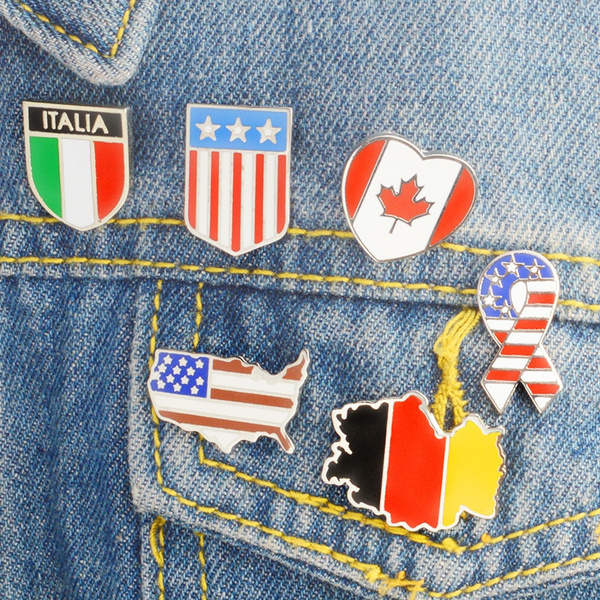 Map, brooches, unisex, usflagbroochpin