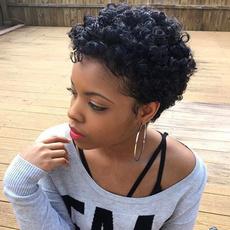 Black wig, afrokinkycurlywig, Shorts, fashion wig