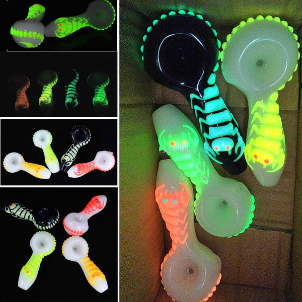 4 Inch Glow In The Dark Glass Oil, Glow In The Dark Glass Hand Pipes