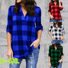plaid shirt, pluesize, Moda masculina, Tops & Blouses