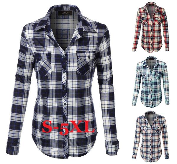 plaid shirt, Fashion, casualchiffonshirt, long sleeved shirt