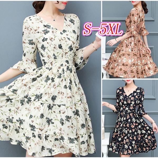 printeddres, flareddres, chiffon dress, Dress