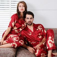 pajamaset, Two-Piece Suits, silkpajamasmen, Sleeve