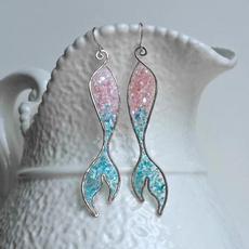 Sterling, pink, flameblueopalearring, Jewelry