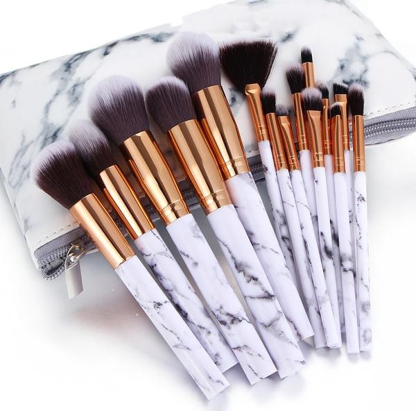 15pcs Marble Texture Makeup Brushes