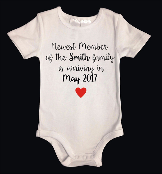 Custom Pregnancy Announcement Personalized Custom Onesie Baby Infant One piece Clothes Baby Announcement outfit