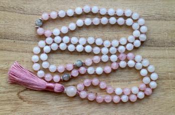whitejadenecklace, pink, Tassels, quartz