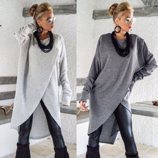 blouse, Plus Size, asymmetricalhem, Sleeve
