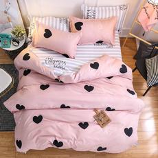 pink, Heart, 4pcsbeddingset, pinkduvetcover