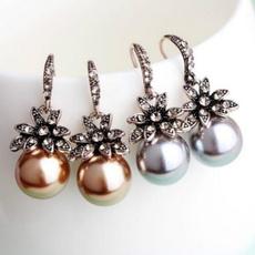 Sterling, Flowers, Pearl Earrings, vintage earrings