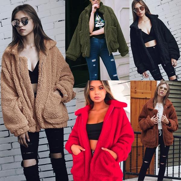 fur coat, warmjacket, wool coat, Long Sleeve