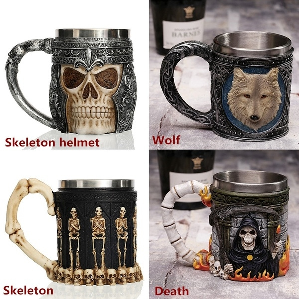Goth, Skeleton, Tea, Stainless Steel