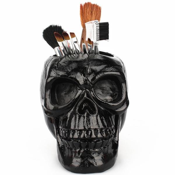 Flowers, makeup brush holder, Beauty, skull