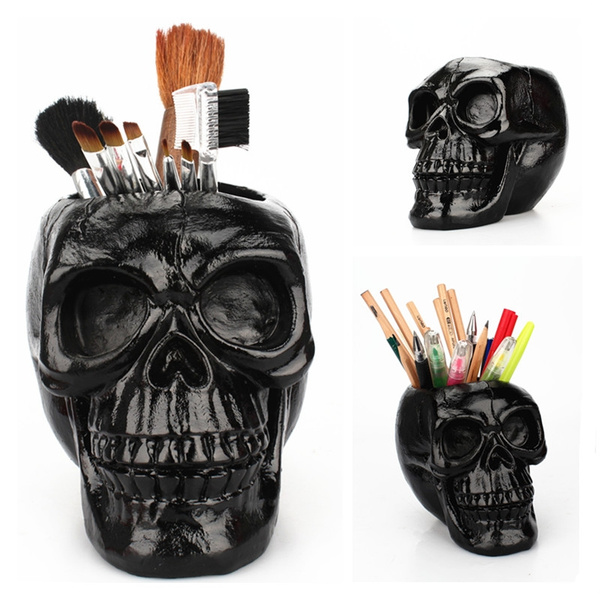 Flowers, makeup brush holder, Beauty, skull