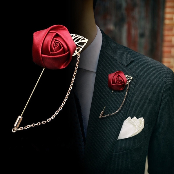 mens ties, brooches, Women jewelry, Rose