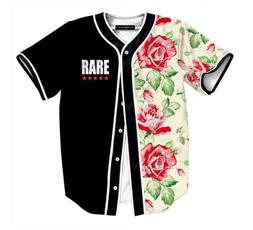 Mens T Shirt, baseballsportswear, Flowers, Baseball