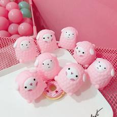 Sheep, pink, squeezingventingball, sheepplushtoy