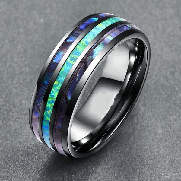 tungstenring, Fashion, wedding ring, opaljewelry