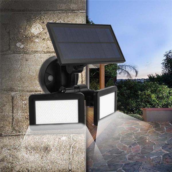 Dual Head Solar Powered Motion Sensor, Solar Outdoor Patio Deck Lights 48 Led