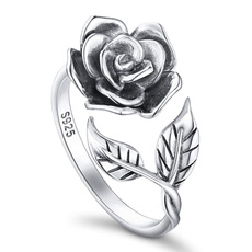 Antique, adjustablering, Flowers, 925 sterling silver