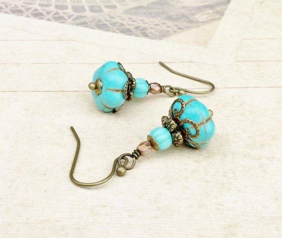 Turquoise, Jewelry, Czech, czechglassbead