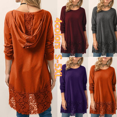 Women, Plus Size, hooded, Long sleeve top