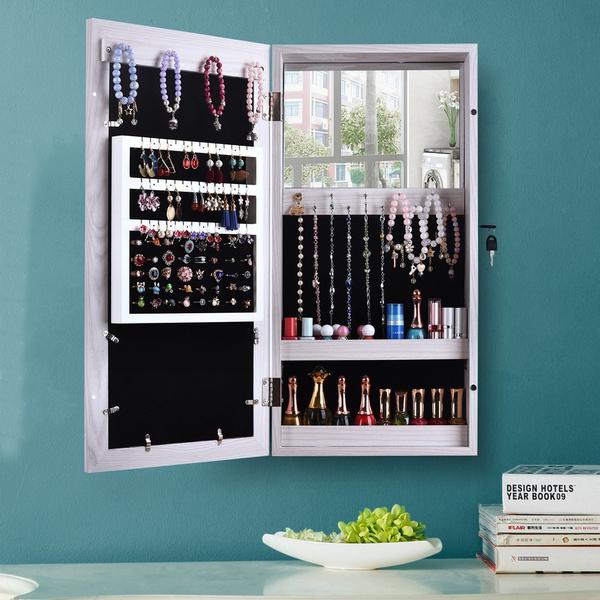 Wall Mounted Mirrored Jewelry Cabinet, Jewelry Cabinet Wall Mounted Mirrored Armoire Storage Organizer