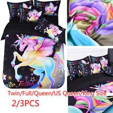 rainbow, 3pcsbeddingset, Home Decor, unicornbedding