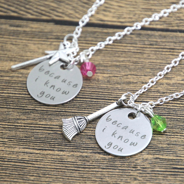 Silver Jewelry, becauseiknowyoufriendshipnecklace, wickedthemusicalnecklace, Necklaces Pendants