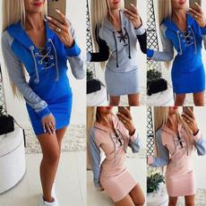 sweatshirt dress, Sleeve, Hollow-out, women dresses