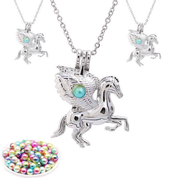 Necklace, horse, Flying, cagesforpearl