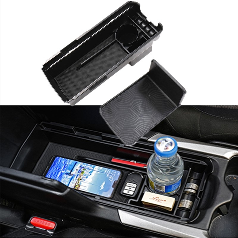 R RUIYA Ceter Console Organizer Compatible with 2018 2019 Tiguan SUV Armrest Box Glove Secondary Storage Divider Insert Tray with Coin Holder