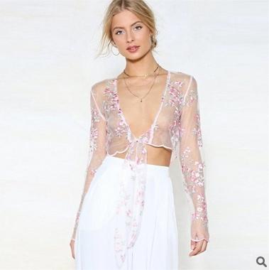 blouse, embroiderytop, meshtop, Tops & Blouses