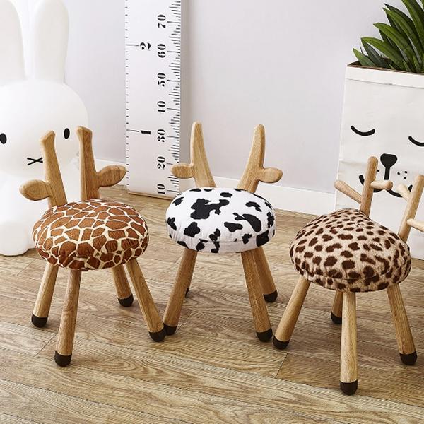 2018 European Style Kids Room Solid Wood Animal Stool Babys Decor Mini Chair Oak Cute Wish