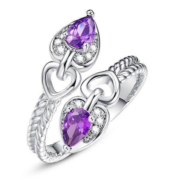 Heart, purple gem, Fashion, wedding ring
