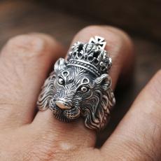 Men Jewelry, lionring, Head, Fashion