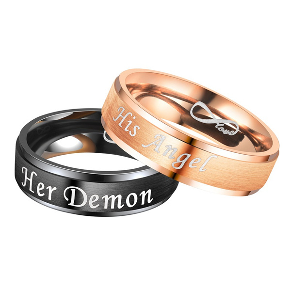 Europe And The New Her Demon His Angel Eternal Love Angel And Devil Couple Ring Wish