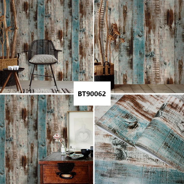 Wood Peel And Stick Wallpaper Wall Mural Self Adhesive Removable Wall Covering Decorative Vintage Wood Panel Distressed Wood Plank Wooden Wallpaper Kitchen Living Room Bedroom Decoration Wish