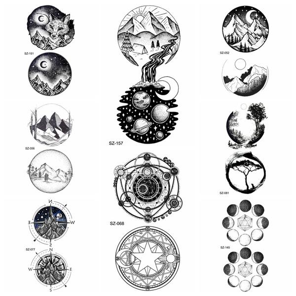Fashion Small Round Universe Tattoo Stickers Women Body Art Drawing Temporary Tattoo Men Arm Moon Hill Waterproof Tatoos Decals Wish
