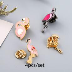 pink, flamingo, Jewelry, enamelbrooch