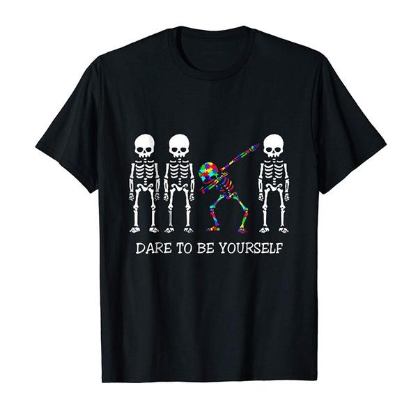 skeletonpatterntop, Hip-hop Style, Funny T Shirt, daretobeyourself